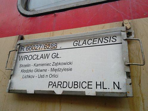 pociąg Glacensis Wrocław-Pardubice